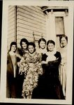 Six girls in front of dorm at 45 Oxford Street