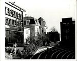 Lesley College sign, Amphitheatre with Grey Hall in Foreground and students are gathering, early-mid 60s