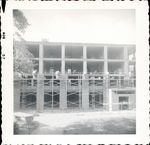Workers on scaffolding during construction of Trentwell Mason White Hall