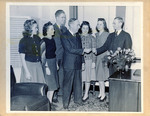 Roy Atherton Davidson receiving the keys to 10 Newbury Street, January 1940 by Lesley University