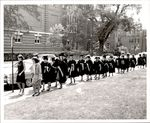 Students Holding Sashes During Commencement Procession March, Commencement ca. 1960s