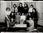 Twelve Students Gathered at a Couch, Student Groups ca. 1964