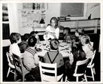 Teacher and Nine Students Playing with Blocks, Student Teaching, ca. 1960s