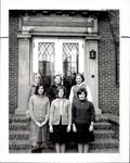Six Students Standing Outside Stebbins Hall, Student Groups, ca. early 1960s