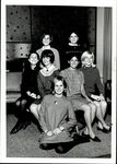 Seven Students Seated on a Table in the Center, Student Groups, ca. early 1960s