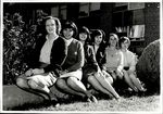 Six Students in the Grass Near White Hall, Student Groups, ca. early 1960s