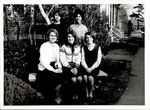 Class of 1967 Officers Seated on Stone Bench, Student Groups, ca. early 1960s
