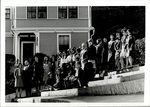 Twenty-Eight Students and a Faculty Member on the Steps of White Hall, Student Groups, ca. early 1960s